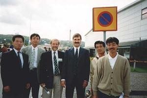 Japanernas första besök i Sverige. Från vänster: Hiroshi Nakanishi, Shozo Miyawaki, Bert Jonsson, Lars Akerstrom, Mitsushige Sumimoto och Yoshitaka Sumimoto.